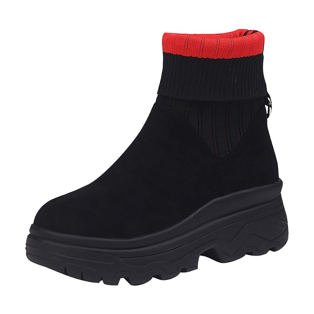 Inverlee Shoes Womens Mixed Colors Platform Slip-On Round Toe Party Casual Boots Red