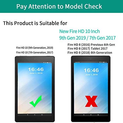 Fire HD 10 Case 10.1 Inch Tablet Case (2019/2017,9th/7th Gen),AIRWEE Ultra Slim PU Leather Multi Angle Folio Stand Smart Cover Cases for All New Amazon Kindle Fire HD 10