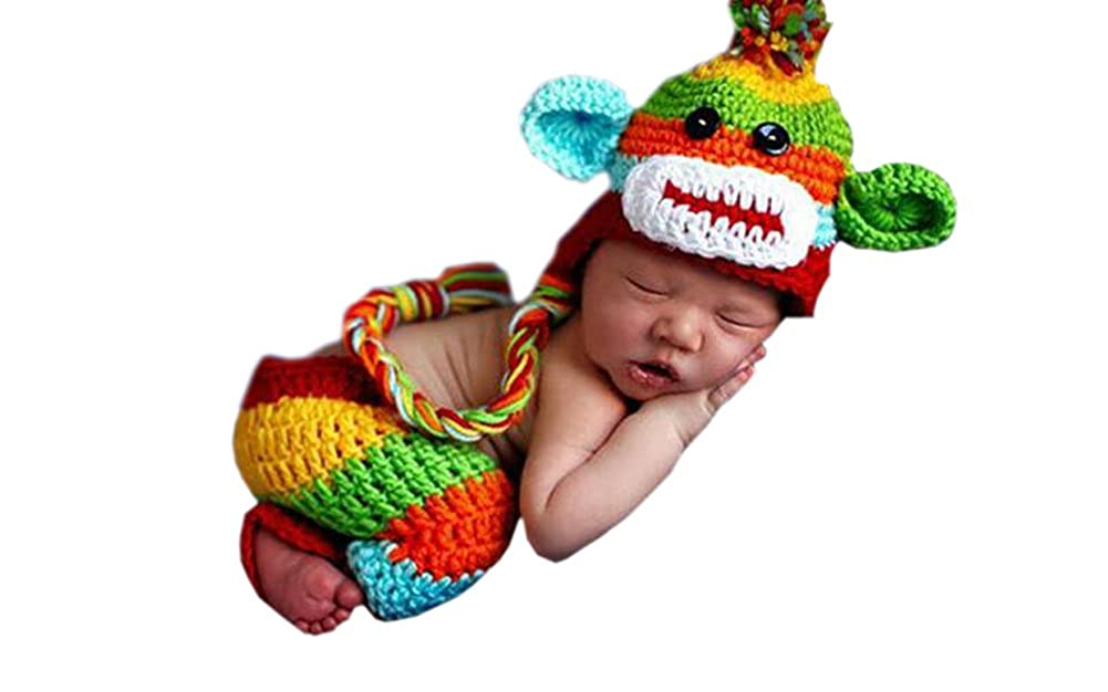 DELEY Unisex Baby Rainbow Monkey Costume Infant Crochet Knit Hat Pants Photo Props 0-6 Months FS0220