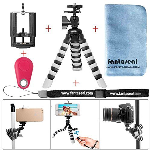 Fantaseal Smartphone Tripod w/Bluetooth RC Remote Control Cellphone Mount Universal Smartphone Tripod Holder Stand DSLR Camera Mini Octopus Tripod Flexible for iPhone Huawei -Rd by fantaseal
