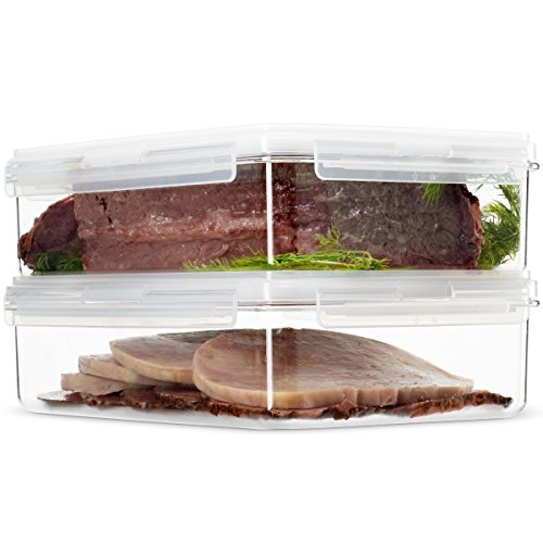 Cold Food Storage Container - Komax Hikips Food Storage Containers 2 Piece Set for Bacon, Cold Cuts, Deli Meat - Premium Tritan Material, BPA Free - Airtight, Leakproof, Snap Locking Lids - Microwave, Freezer and Dishwasher Safe