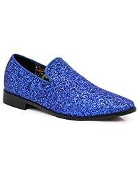 SPK04 Mens Vintage Glitter Dress Loafers Slip On Shoes Classic Tuxedo Dress Shoes