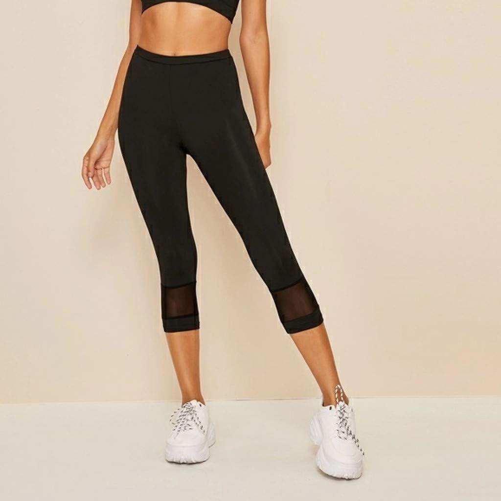 Yoga Pants for Women,Leaf2you Ladies Splicing High Waist Cropped Leggings Pants Skinny Workout Gym Fitness Pants Sweatpants Black, M