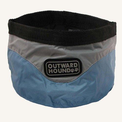 Kyjen Outward Hound Designer II Port-A-Bowl, Ice Blue and Elephant, 48-Ounce, My Pet Supplies