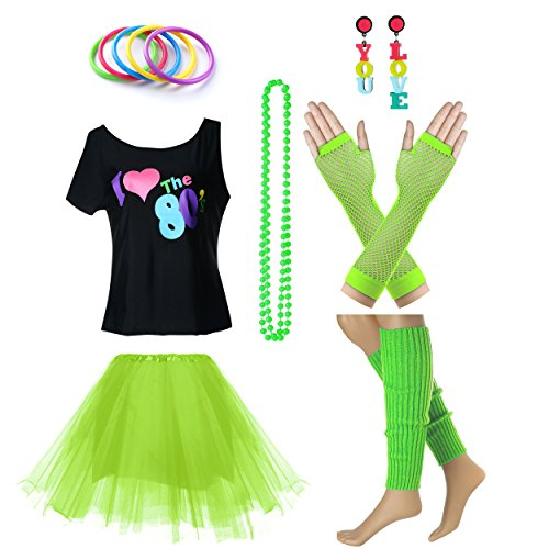 Women's I Love The 80's T-Shirt 80s Outfit accessories (S/M, Green) -