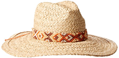 'ale by alessandra Women's Indio Raffia Braid Hat With Hand Woven Trim and Rated UPF 50+, Natural, One Size