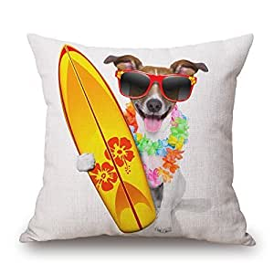 CCTUSGSH Cute Style Dogs Cotton Throw Pillow Case Cushion Cover 16 X 16 Inches One Side