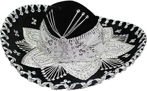 Authentic Mariachi Flowers Style Hat Fancy Premium Mexican Sombrero Charro  Hats Made in Mexico (Choose 56771ecfcdf5