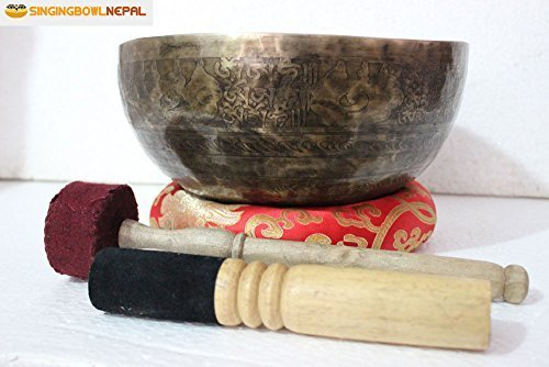 Singing Bowl 10' Om Mane Padme Hum Mantra Carved - Beaten Hammered Tibetan Singing Bowls, Hand Carving From Nepal