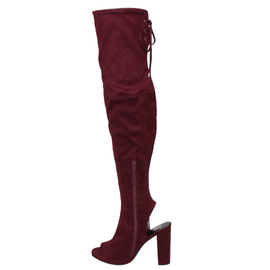 Delicious Womens Faux Suede Stretchy Open Toe Open Back Over The Knee Block Chunky Heel Boot