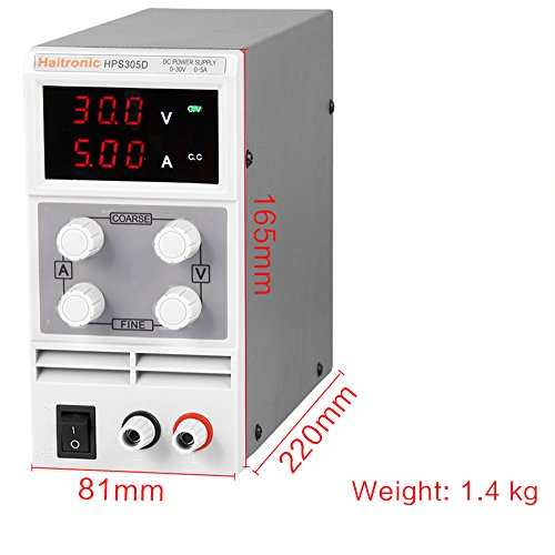 Haitronic HPS605D, adjustable switching DC Power Supply, precise variable DC 0~60V @ 0~5A OUTPUT, 3 Digital Display with Alligator Cable and Power Cord by Haitronic (Image #1)