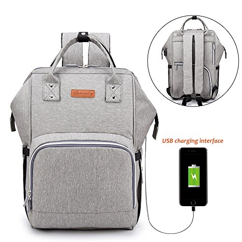 Mom Diaper Bag Backpack for Baby, Anti-Water Maternity Nappy Changing Bags Organizer with Insulated Pockets and Stroller Straps for Boy Girl, Large Travel Rucksack Built-in USB Charging Port - Grey