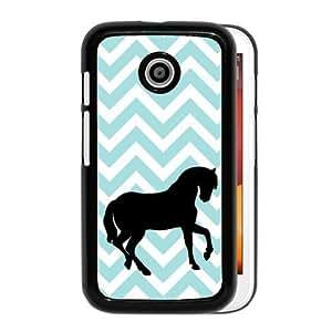 Love Horses Aqua Zig Zag Cute Hipster Aqua Silicon Bumper Motorola Moto E Case - Fits Motorola Moto E