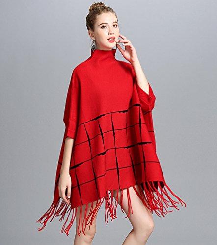Punto Borla Mujeres Alto De Casual Pulóver Cuello Chal Rojo WanYang De De Chaqueta Tamaño Gran Suelta Mujer OZH1xdqnw
