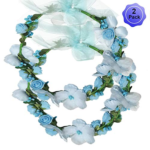 Flower Crown Headband Wreath Garland Hair Bands Floral Wedding Bridal Hair Hoop Women Leaf Ribbon Party Decoration Headdress Headwear Christmas Handmade Headpiece Hair Accessories 2 Pack Blue