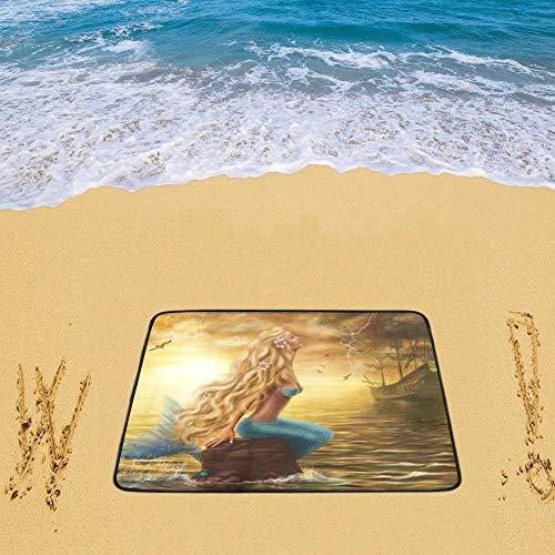 INTERESTPRINT Beach Mats Sea Mermaid Waterproof Oxford Fabric for Picnics Beaching Playdates -