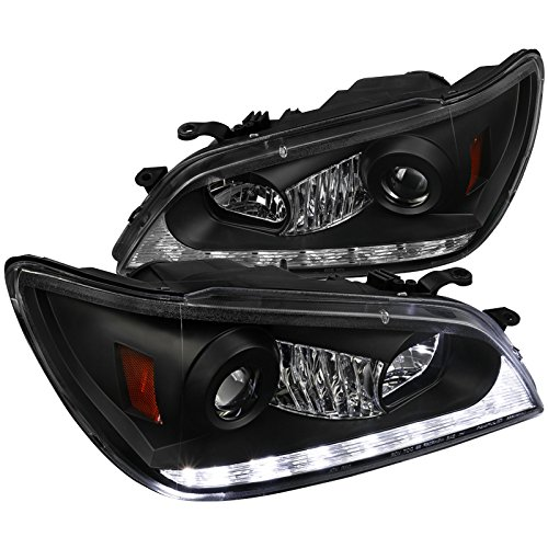 (Spec-D Tuning 2LHP-IS30001JM-TM Lexus IS300 Black Projector Headlights+LED DRL+Amber LED Signal Lamps )