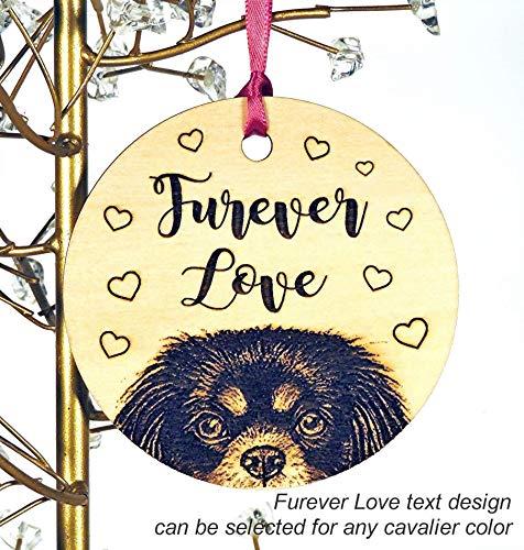 (Cavalier King Charles Spaniel Christmas Wood Ornament, Black, Tri-color, Ruby or Blenheim, add Custom Text)