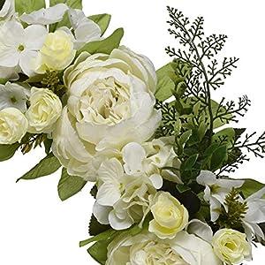 "16"" Peony Hydrangea Wreath,Artificial Peony Flower Wreath Door Wreath with Green Leaves Spring Wreath for Front Door,Wedding,Wall, Home Decor 3"