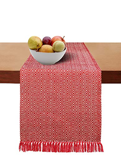 Cotton Clinic Table Runner Farmhouse 90 Inch Classic Diamond Weave, 14x90 Wedding Table Runner Fringes, Rustic Bridal Shower Decor Dining Table Runner Red White