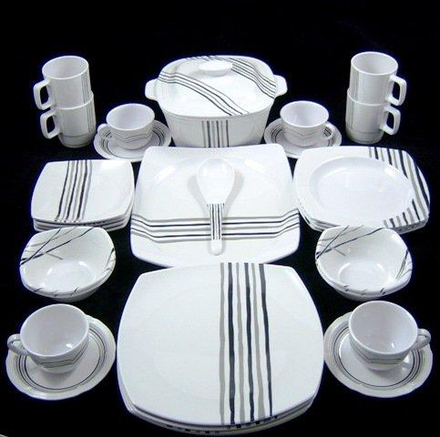 21b05af17bb1 32 pce Black   Grey Melamine Dinner Service - Plates