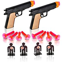 Aim the Police Pistol Dart Gun Set by ArtCreativity, Includes 2 Toy Pistols, 8 Suction Cup Darts, 4 Targets & 1 Instruction Sheet, Fun Target Shooting Game for Kids & Adults, Great Gift