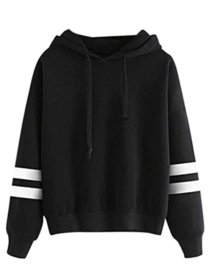 Leoie Womens Loose Hooded Sweatshirt Concise Solid Color Hoodie Long Sleeve Soft Cotton Tops Black S