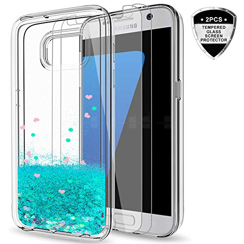 Galaxy S7 Glitter Case with Tempered Glass Screen Protector [2 Pack] for Girls Women,LeYi Cute Bling Shiny Quicksand Liquid Clear TPU Protective Phone Cover Case for Samsung Galaxy S7 ZX Turquoise