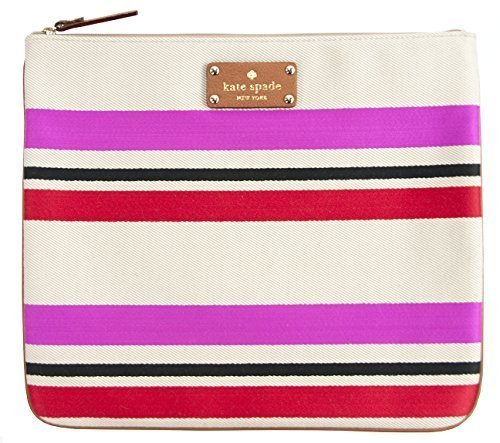 Kate Spade New York Oak Island Stripe Adrianne Pink Cosmetic Bag by Kate Spade New York