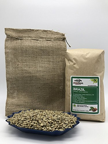 5lbs BRAZIL Reasonable (includes a FREE BURLAP BAG) Specialty-Grade, CURRENT-CROP Green Unroasted Coffee Beans – This Natural Process Bean is Darned Popular with Espresso Aficionados as Base in Blends