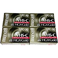 Maxell VHS-C TC-30 HGX Gold Blank Cassettes - Pack of 4 Cassettes