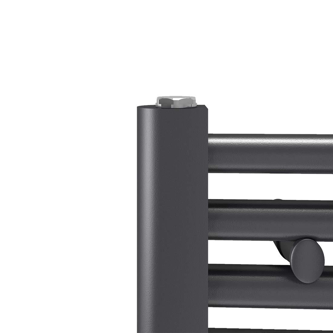 Antrazit Badheizk/örper Handtuchtrockner Heizk/örper 1600x400mm Horizontal Rohrdurchmesser: 22mm 789 Watt Leistung Bad-Heizk/örper Bad Mittelanschluss Heizung