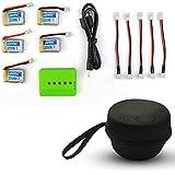 収納ケースハンドバッグと5個 3.7V 150mah LiPoバッテリー と充電器JJRC H36 Eachine E010 NIHUI NH010 Luxonドローン用