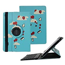 Tsmine Samsung Galaxy Tab S 10.5-Inch Bluetooth Keyboard Rotating Case - Universal Detachable Wireless Keyboard Cover [NOT include Tablet] for Galaxy Tab S 10.5 SM-T800, Penguins with Balloons/Black