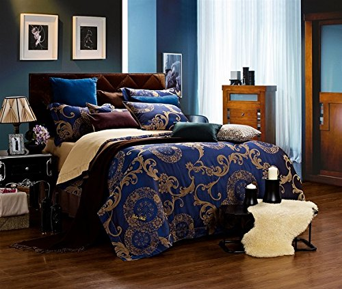 Venus - Jacquard Damask - 6 Pc. Queen Duvet Cover Luxury Bedding Set - Entire Set Includes: (1 Duvet Cover, 1 Fitted Bed Sheet, 2 Shams, 2 Pillow Cases) - Includes a Gift Box and Gift Bag!