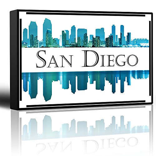 wall26 - City Skyline Series - San Diego - Colorful Urban Decor - Sunsets and Silhouettes Famous Buildings and Landmarks - Canvas Art Home Decor - 24x36 inches -