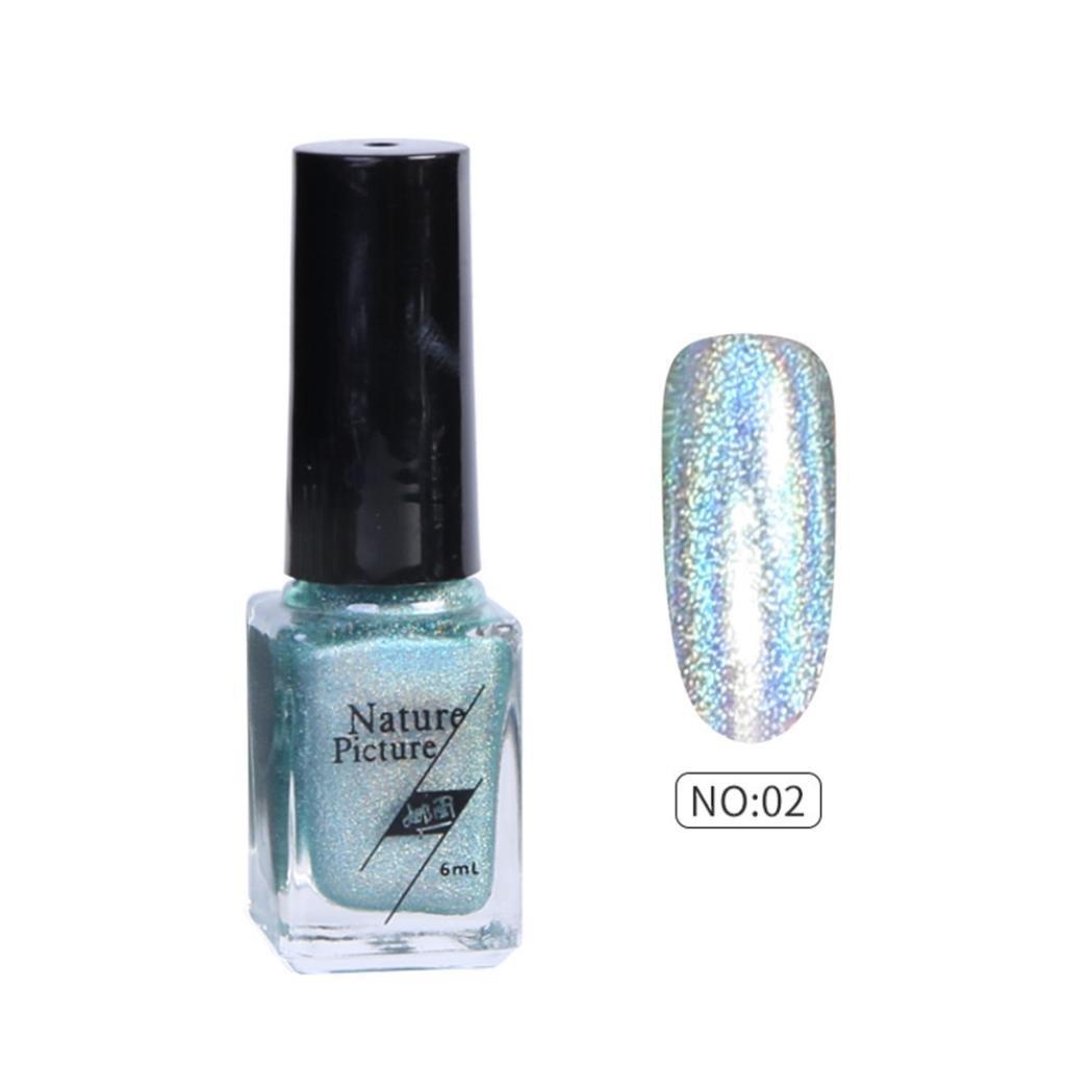 Women's Shimmer Nail Polish, Iuhan 6ml Nail Polish Color Change Shimmer Nail Sequins Long Lasting Nail Lacque (B)