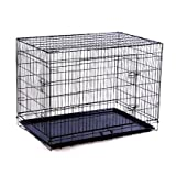 PawHut 36-inch Two Door Folding Metal Dog Crate Cage Kennel