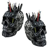 (Set/2) Skull Shaped Pencil Holder Office Desk Supplies Organizer Accessory