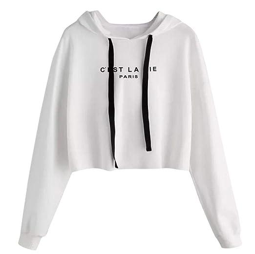 Wm Mw Womens Short Sweatshirt Fashion Cest La Vie Paris Letter