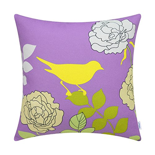 Cut Leaf Lilac - CaliTime Canvas Throw Pillow Cover Case for Couch Sofa Home Decoration Floral Cartoon Shadow Bird Silhouette 18 X 18 inches Lavender Ground Yellow Bird