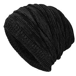 iParaAiluRy Warm Oversized Beanie Hat – Long Slouch Beanie Knitted Hat for Women Men – Winter Fleece Lined Wool Baggy Slouch Skull Cap