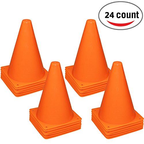 Reehut 7.5 Inch Plastic Sport Training Traffic Cone (Set of 24, Orange) (Plastic Training)