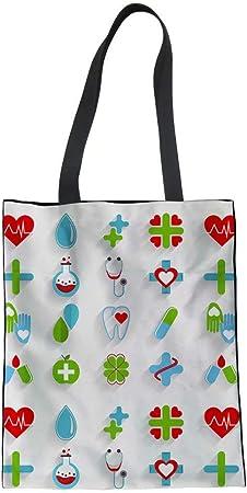 POLERO Bolsa de la compra, lona de algodón, bolsa de la compra, bolsa de tela, bolsa de algodón con estampado de dibujos animados, para enfermeras, niñas, mujer, trabajo diario, Nurse-10, 42x34cm: Amazon.es: