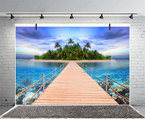 Leyiyi 7x5ft Photography Background Seaside Backdrop Wedding Party Ocean Sand Beach Hawaiian Luau Wooden Bridge Tropical Bush Island Sealife Birthday Honeymoon Photo Portrait Vinyl Studio Video Prop