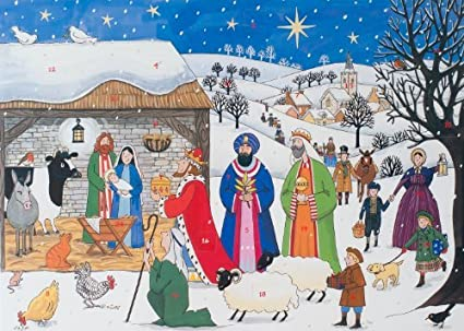 Christmas Nativity.Alison Gardiner Traditional Advent Calendar Jesus Is Born Large With Christmas Nativity Story
