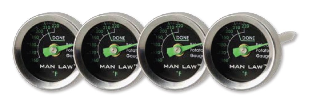 Man Law Potato Thermometer with Glow in the Dark Dial, Set of 4