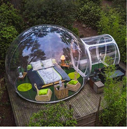 ZXMOTO Inflatable Bubble Camping Tent Outdoor Transparent Single Tunnel Family Camping Tent with Blower and Air Pump 110V