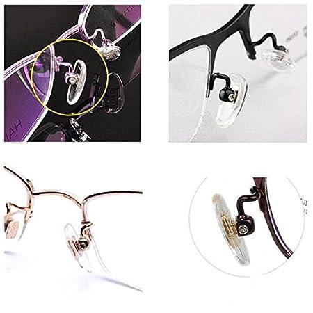 50 pares de almohadillas de silicona para nariz para gafas y gafas de sol, ovaladas, atornillables