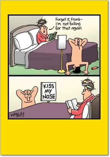 Kiss My Nose - Hilarious Happy Birthday Greeting Card with Envelope (4.63 x 6.75 Inch) - Adult Humor, Romantic, Sexy Joke - Funny Bday Card for Wife, Women - Tim Whyatt Cartoon, Congrats Gift 8347